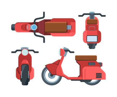 Modern red scooter bike flat illustrations set. Motorbike top and side view. Motor vehicle from different angles. Delivery transportation. Motorized transport isolated on white background Vector Illustration