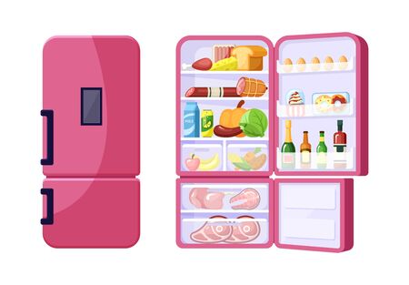 Closed and open fridge with assortment of grocery products flat vector illustrations. Dish ingredients in red refrigerator. Fruit, vegetables and beverages. Meat and dairy. Gastronomy goods