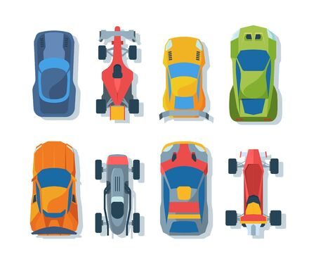 Sportive bolides top view flat illustrations set. Racing automobiles collection. Professional sportcars and rally transportationpack. Different sport vehicles isolated on white background