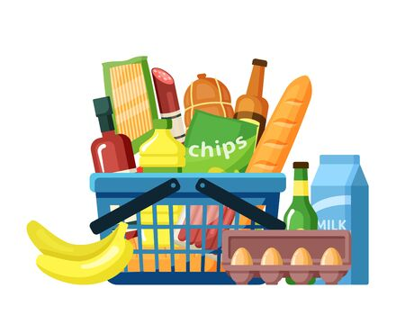 Grocery basket with food assortment flat vector illustration. Supermarket products in shopping handbasket. American food. Meal ingredients. Basketful of everyday gastronomy goods isolated on white Ilustrace
