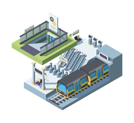 Modern city subway entrance detailed isometric vector illustration. Empty underground platform with train. Tube scene with ticket gates. Commuter rail system. Urban transportation mode concept in 3D