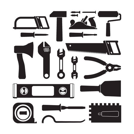 Different construction tools black glyph icons set. Saw, trowel, ax. Screwdriver, hammer, wrench. Mechanic instrument assortment. Carpentry equipment vector silhouettes isolated on white background