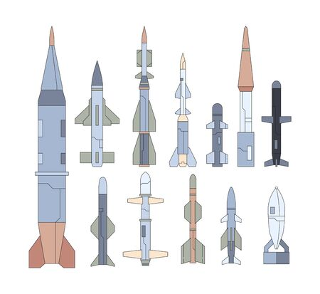 Army guided flying weapon flat illustrations set. Nuclear missiles collection. Targeting warheads, atomic rockets. War shell munition pack. Military equipment isolated on white background