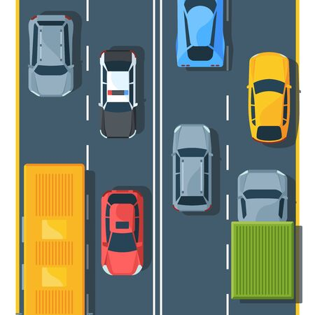 Urban traffic on highway top view flat illustration. City vehicles on road. Hatchback, suv, sedan. Trucks, police car and sportcar. Different automobiles. Colorful modern auto on roadway.