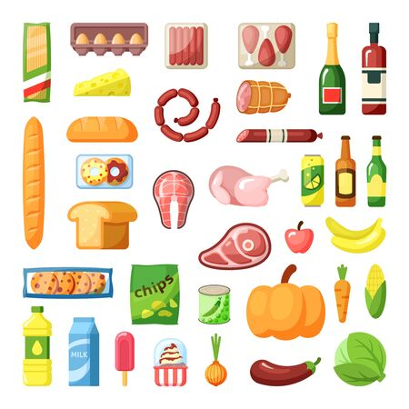 Everyday supermarket food items assortment flat vector illustrations set Ilustrace