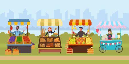 Local street food market flat vector illustration