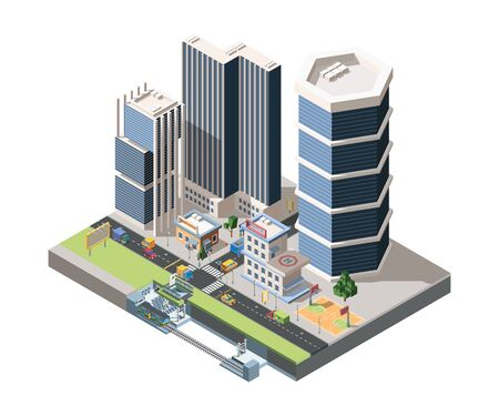 Megapolis street scenery detailed vector isometric illustration