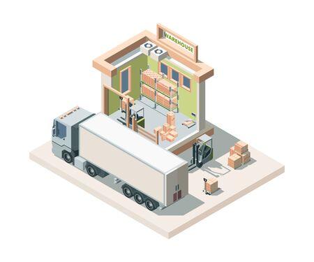 Costruzione del magazzino con illustrazione vettoriale isometrica di camion e carico Vettoriali