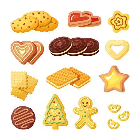 Biscotti deliziosi, set di illustrazioni vettoriali piatte per prodotti da forno Vettoriali