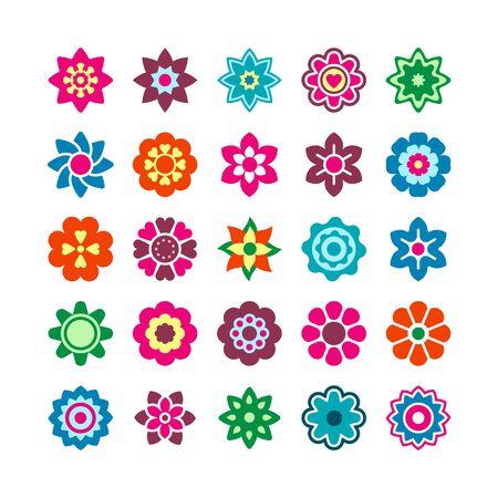 Fabulous flowers, fairy plants flat color icons set