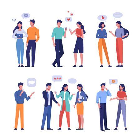 Live and online communication flat vector illustrations set