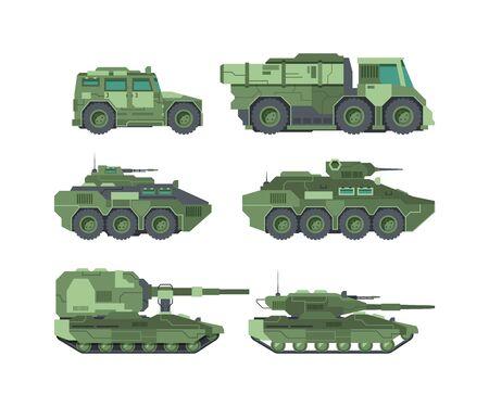 Military cars types flat vector illustrations set