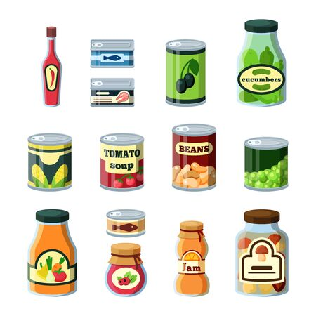 Conservation food, products in cans flat vector illustrations set