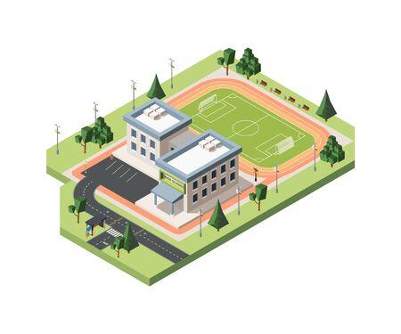 Ilustración isométrica de vector de campo de fútbol de secundaria