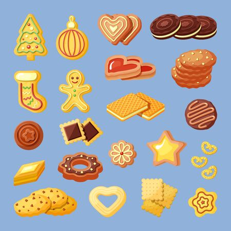 Biscuits, snacks, bakery products flat vector illustrations set
