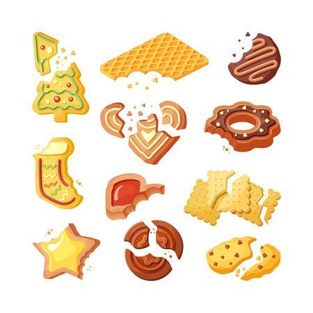 Bitten cookies, broken biscuits flat vector illustrations set Çizim