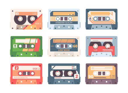 Compact cassette colorful flat vector illustration set Çizim