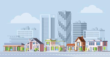 Urban city landscape colorful flat vector illustration