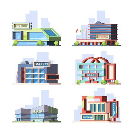Miejskie sklepy i centra handlowe zestaw ilustracji wektorowych płaski Ilustracje wektorowe