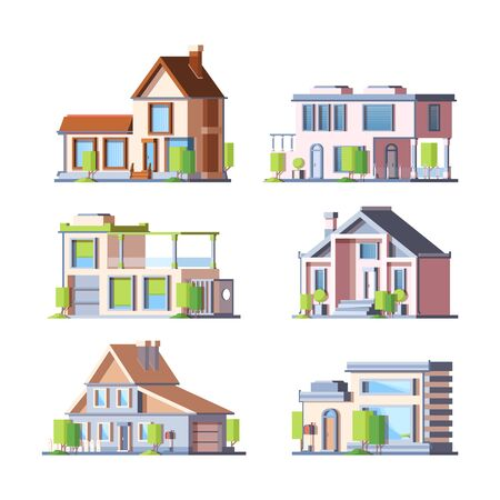 Townhouse, cottage colorful flat vector illustrations set