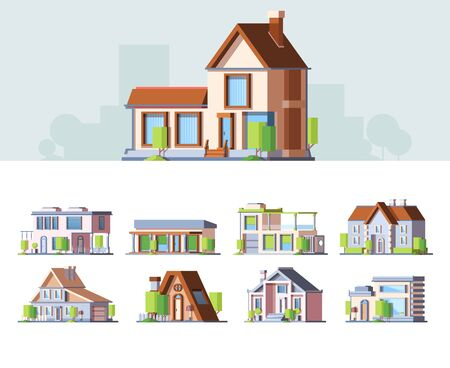 Townhouse, small cottages colorful flat vector illustrations se