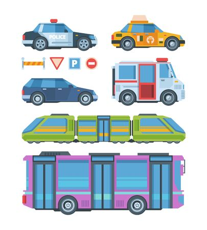 City transport colorful flat vector illustration set