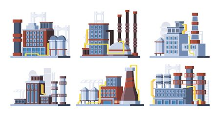 Manufacturing plants, factories colorful flat vector illustrations set