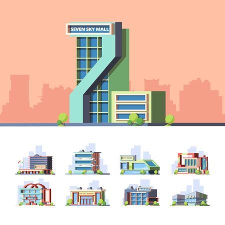 Supermarkets and hypermarkets flat vector illustrations set