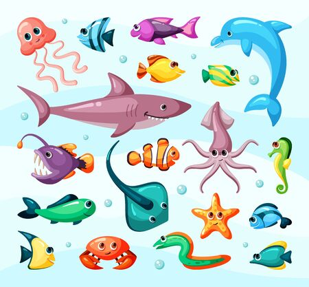 Underwater life, fish colorful flat vector illustration Vectores