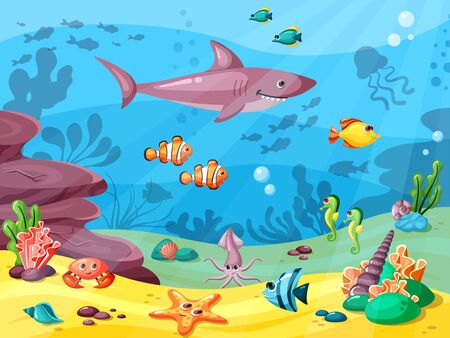 Underwater life. Wild animals in ocean or sea water flowing big small fishes seaweed corals seashells. Vector background Ilustrace