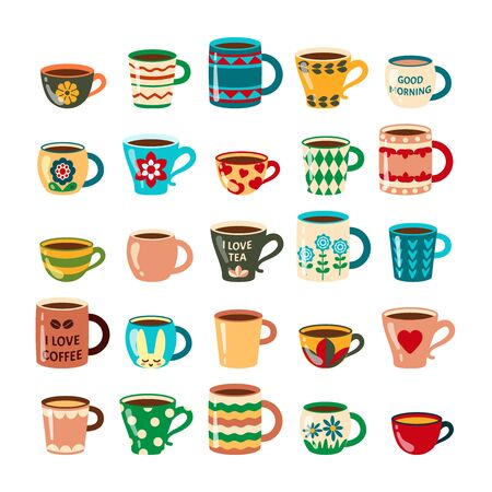 coffee mugs. colored cups decorated kitchen furniture coffee dishes. ethnic pattern mugs. vector cartoon illustrations