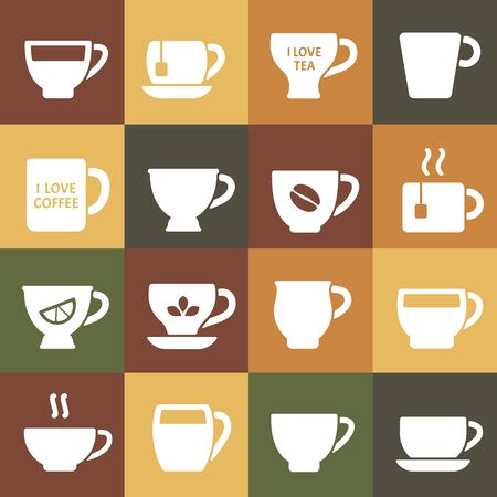 coffee mugs. cups silhouettes   design. kitchen coffee symbols for restaurant menu. vector identity template