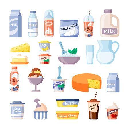 productos lácteos. leche queso yogur helado de lecho. Desayuno diario con productos naturales y saludables de la granja. conjunto de vectores