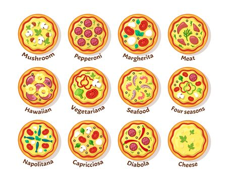 italian pizza. traditional delicious food with toppings sausage cheese vegetables italian cousine pizza top view vector Ilustración de vector