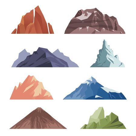cartoon Mountain. outdoor rocks landscape for extreme climbing expeditions. vector different mountains isolated