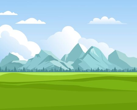mountains background. outdoor green meadows with hills rocks for travellers in summer season eco nature vector concept