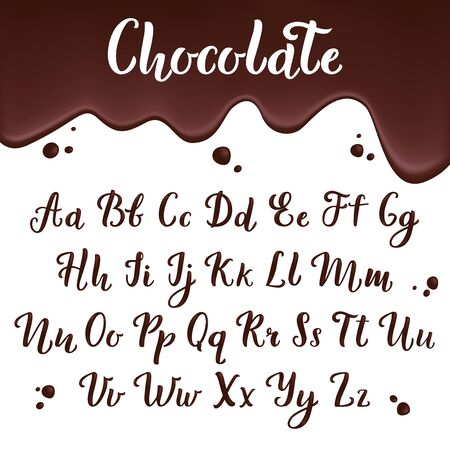 chocolate alphabet. calligraphic delicious letters for restaurant menu designs ink brush vector scripts