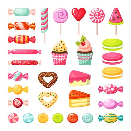 sweet candy. lollipop colored delicious tasty caramel fruits sweets. celebration food vector pictures white background