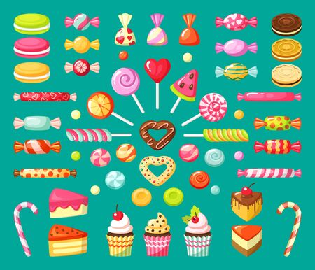 sweet candy. tasty dessert food lollipops candies cupcakes and sliced cakes marmalade caramel biscuits. vector collection