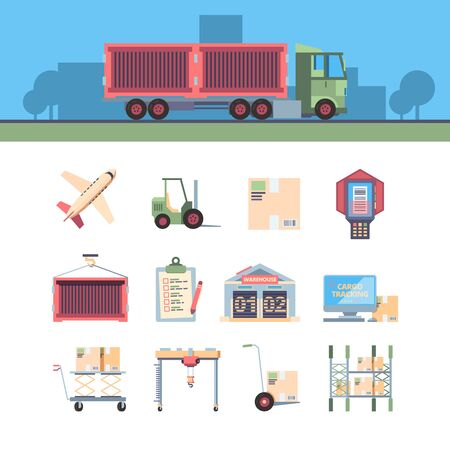 cargo delivery icon. aircraft loader computer warehouse van and other cargo symbols. vector flat illustration