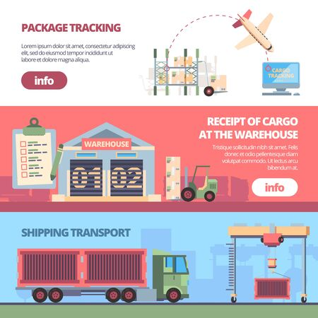 cargo delivery banners. loading trailer in warehouse aircraft transportation packages. delivery service vector templates 일러스트