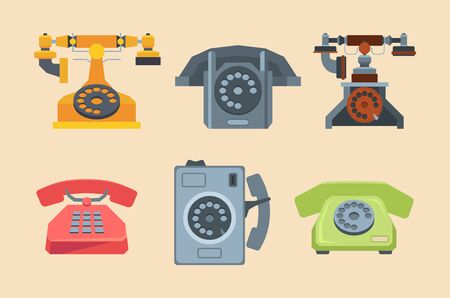 antique telephones. handset connection retro style old gadgets 80s 70s technique. vector flat pictures