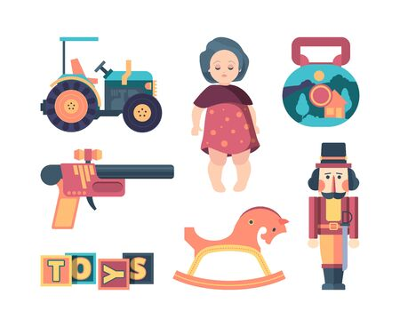 vintage toys. happy childhood decorative funny items blocks soldier dolls and machine. vector retro collection