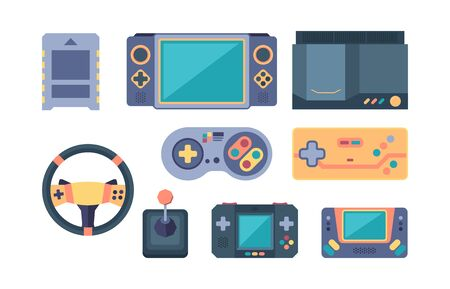 game console. video gaming devices 80s retro for video players geek gamepads controllers fun. vector computers Ilustração