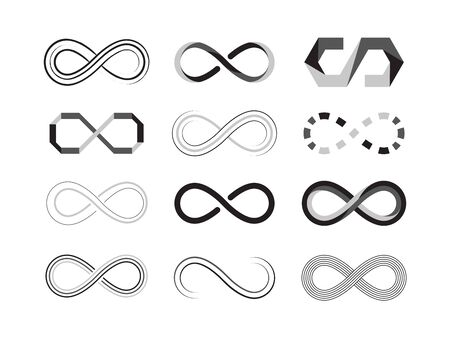 infinity sign. eternity abstract icons of future graphic symbolism. vector illustrations templates isolated Ilustración de vector