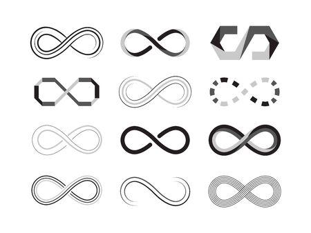 segno di infinito. icone astratte dell'eternità del futuro simbolismo grafico. modelli di illustrazioni vettoriali isolati Vettoriali