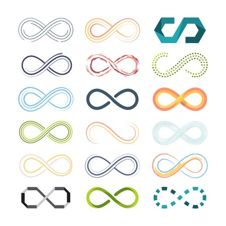 infinity colored symbols. abstract shapes of futuristic   eternity symbols in graphic symbolism. vector collection Ilustracja