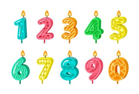 birthday numbers. anniversary decorative candles cakes. kindergarten birthday party. vector celebrating signs for kid Illustration