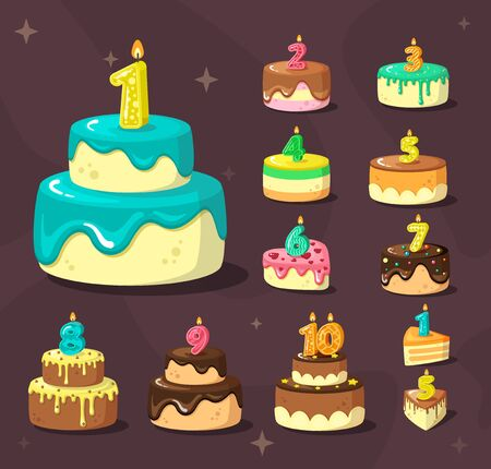 birthday cakes. celebration delicious dessert with anniversary numbers and party candles. vector cartoon birthday set
