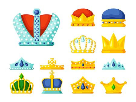 crowns. luxury monarch symbols of power golden diadem and crowns for kings and princes royal heraldry decoration. vector
